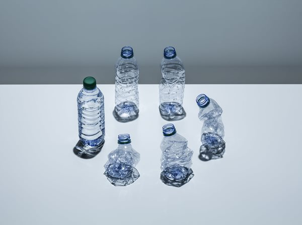 Plastic bottles arranged in a circle