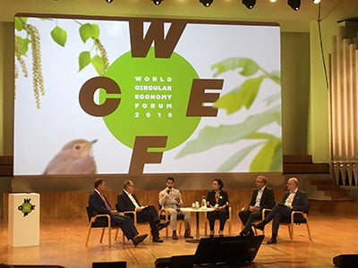 TOMRA CEO Stefan Ranstrand participating in panel at World Circular Economy Forum